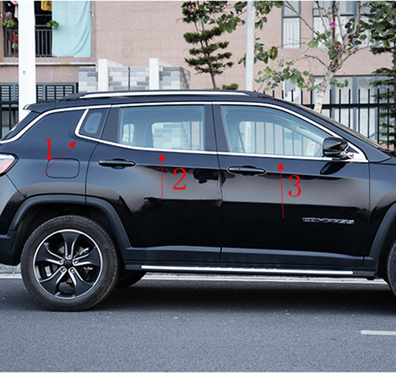 Car Accessories For Jeep Compass Second Generation 2017 2018 Exterior Stainless Steel Bottom Window Frame Sill Cover Trims 6Pcs