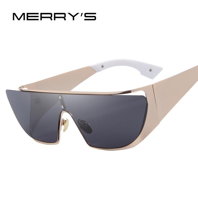 MERRY'S Mulheres Lente Polarizada Óculos De Sol Da Marca Designer Clássico Shades Flat Panel Integrado S'8069