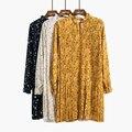 Novo 2017 retro floral imprimir ruffles mulheres dress feminina vestidos de chiffon solta manga longa plissado em linha reta
