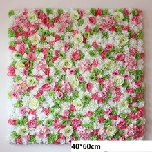 HAXIXINJING 40*60cm Charming Artifical Flower Wall Silk Rose Floral Wall Wedding Decoration Backdrop Home Decor Background