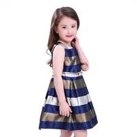 Toddler Girls Children European American Princess Dress Fashion Clothing Baby Kids Stripe Sleeveless O Neck Dresses