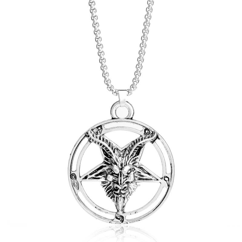 Baphomet Pentagram Devil Satan Goat Head Occult Neclace Silvered Chain Pendant Strengthening Sinews And Bones Costume Jewellery Necklaces & Pendants