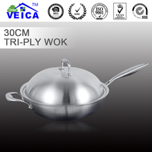 Cooking Pots And Pans Set Panelas De Ceramica Cooking Pot 38cm Contemporary Stainless Steel Flat Bottom Wok Tri-ply Induction