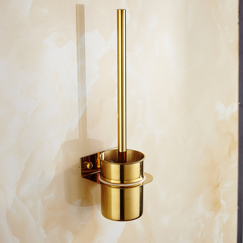 304 Stainless Steel Gold Finish Toilet Brush Wall Mount Bathroom Mirror Plating Cleaning Brush Set Bathroom Hardware Accessories 5pcs 304 stainless steel capillary tube 3mm od 2mm id 250mm length silver for hardware accessories