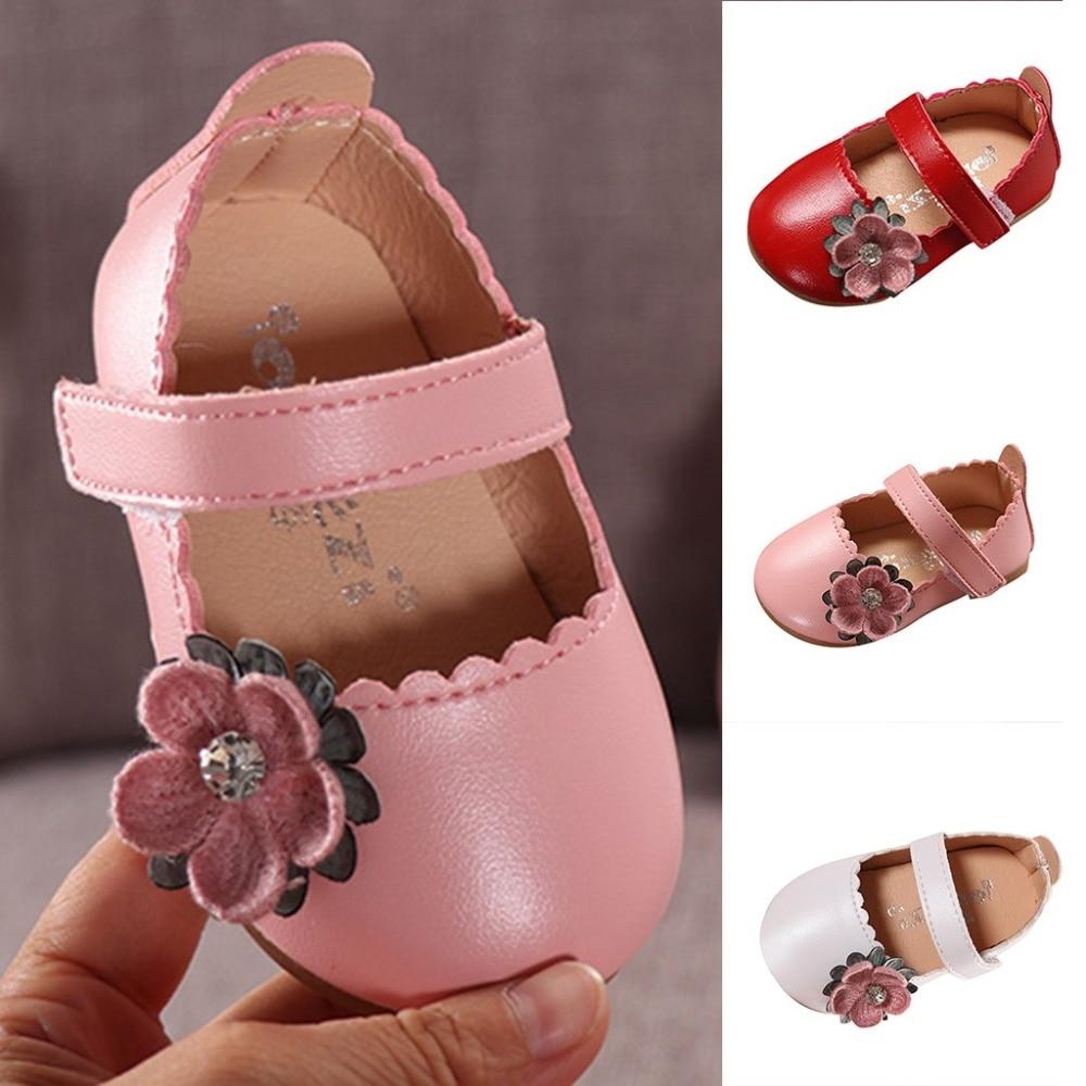 Niña de las flores zapatos de primavera y otoño de princesa de encaje zapatos de cuero de la PU Bowknot lindo de diamantes de imitación para 3-11 años Niño Zapatos