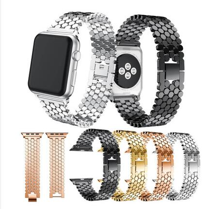 Fish Scale Stainless Steel Strap For Apple Watch Band Series 4 40mm 44mm Bracelet For Iwatch Wristband 3 2 1 38 42mm