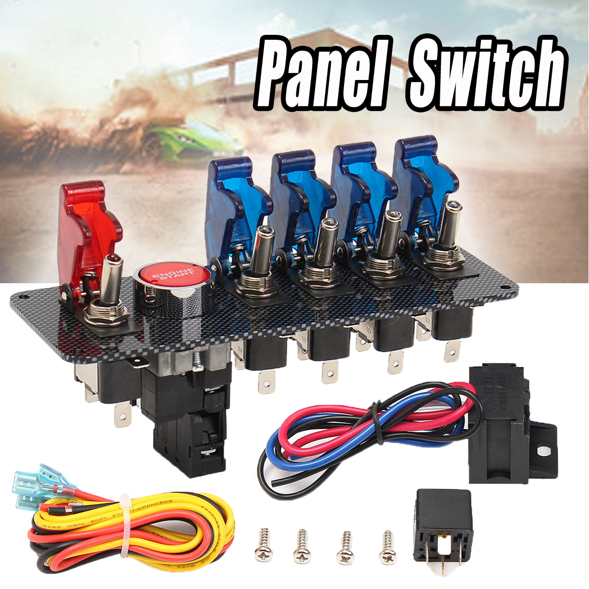 Newest 12V Racing Car Ignition Switch + 4 Blue & 1 Red LED Toggle Button Panel Favorable