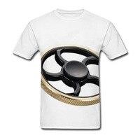 2017 Wysokiej jakości fajne Mężczyźni Kobiety hot 3d t shirt Druku metal biały ręcznie spinner 2 krótki Rękaw Letnie moda top Tees hurtownie