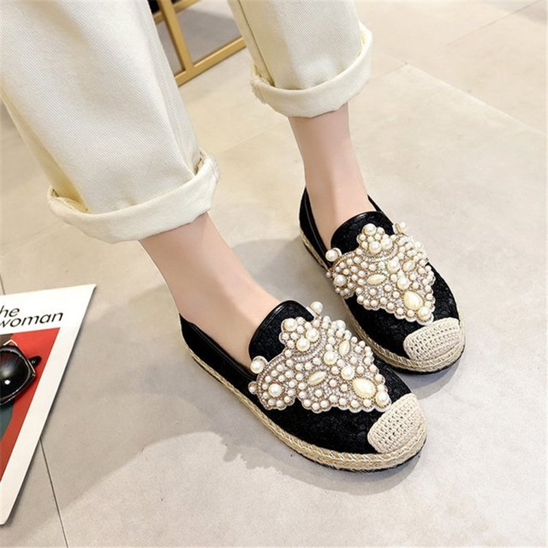 New Flat Shoes Women Fisherman Loafers with Pearl Decor Spring Summer Breathable Mesh Slip-on Casual Footwear Ladies Stylish 2