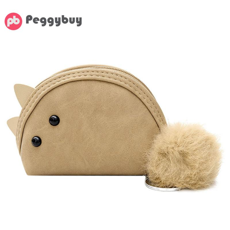 Women Cartoon Animal Coins Bag 2018 New Fashion Soft PU Leather Simple and Elegant Plush Key Ring Holder Girls Mini Zipper Purse