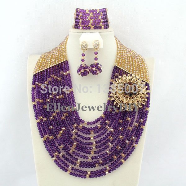 Nigerian Wedding African Beads Jewelry Set Crystal Purple Beads Necklace Set Dubai African Jewelry Set Crystal Jewelry Set P3688Nigerian Wedding African Beads Jewelry Set Crystal Purple Beads Necklace Set Dubai African Jewelry Set Crystal Jewelry Set P3688