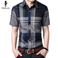 Troilus Plaid Shirt Men Shirts 2016 New Summer Spring Fashion Chemise Homme Mens Dress Shirts Short Sleeve Business Shirt M-5XL