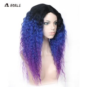 Image 2 - Noble Hair Lace Front Ombre Blonde Wig 26inch Long Curl Synthetic Wigs For Black Women 16 COLOUR Free Shipping