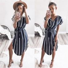 S-3XL new women fashion short sleeve belt split dress lady sexy striped midi dress casual leisure summer dress