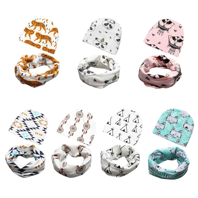 2016 Winter Infant Hats Scarf Set Baby Toddler Cute Cartoon Ptint Cotton Caps Scarf Set Apparel Accessories