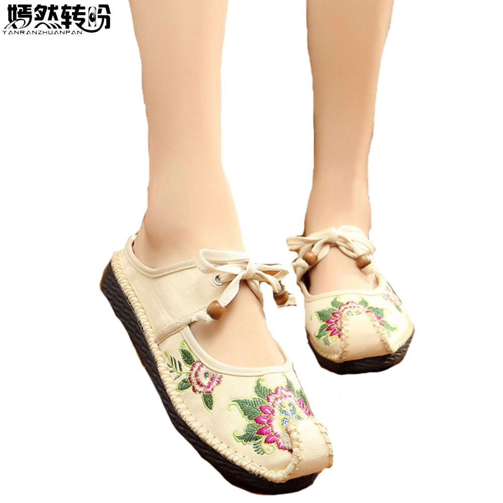 Chinese Women Slippers Old BeiJing Slip On Handmade Sewing National Embroidered Comfortable Soft Shoes Zapatos Mujer 2017 new old beijing boho cotton linen canvas cloth shoes national thailand handmade woven round toe flat shoes with embroidered