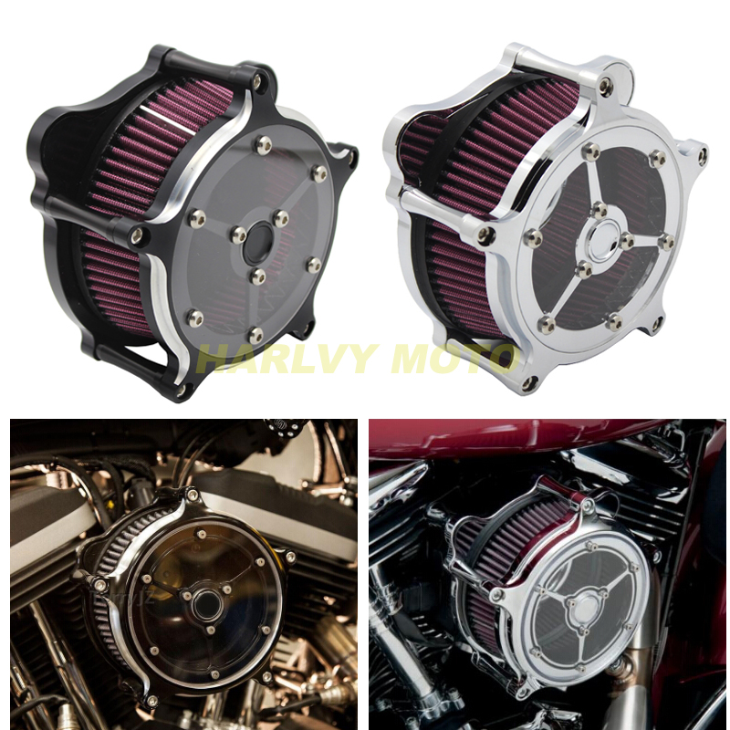 Motorcycle Bike Accessories Contrast Cut Turbine Air Cleaner Filter For Harley Sportster XL883 XL1200 1991 2006