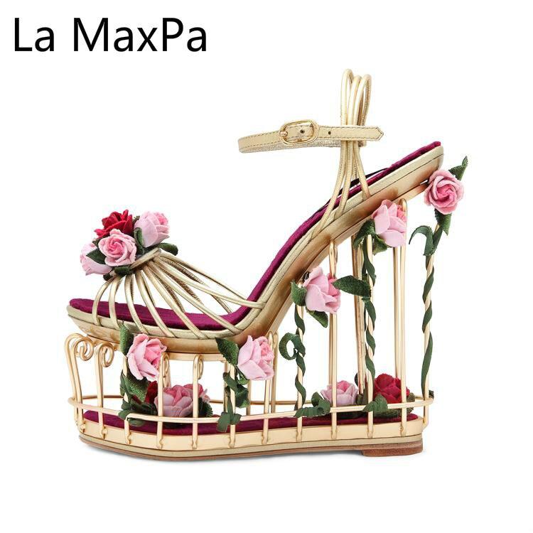 Frühling Sommer Neue Frauen Schuhe Mode Luxus Tie up Birdcage Hochzeit T gebunden Schuhe Hochwertige Angepasst Hohe schuhe mit hohen absätzen