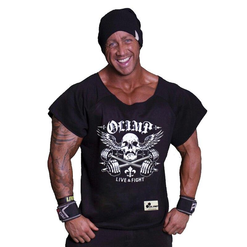 Fitness férfiak OLIMP Rag Tops Rövid ujjú Ruhák Izmos ing Bodybuilding Regatas Férfi pólók Ruházat