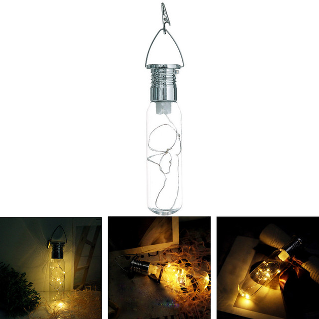 Home Curtain Solar Light Solar Powered Outdoor Sun Copper Wire Bottle  Suspension Lamp LED Wedding Party