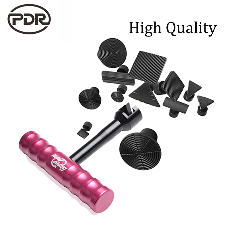 Super PDR Kit Small Red T Dent Puller Slide Hammer Hand Lifter Suction Cup Glue Tabs For Dent Removal Paintless Dent Repair pdr dent lifter kit red puller t bar glue with glue puller tabs