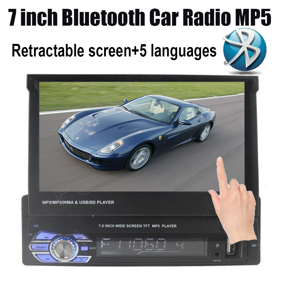 steering wheel control 7 inch touch screen Car radio MP5 MP4 player 1 DIN bluetooth USB/TF/FM support rear camera 5 languages 2 din car radio stereo mp5 mp4 player 6 6 inch touch screen rear camera dvr input fm steering wheel control bluetooth video