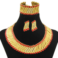 Liffly AAAA Chunky Gold Dubai Choker Red Green Necklace Earrings Bracelet Jewelry Sets Women Bridal Wedding Engagement Jewelry