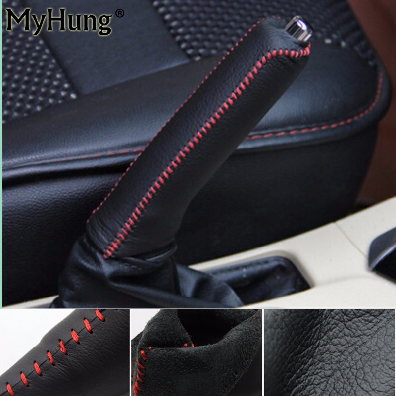 Black Red Line Leather Hand-Stitched Car Handbrake Cover For Toyota Corolla 2014 2015 Handbrake Grips Car Styling 1pc