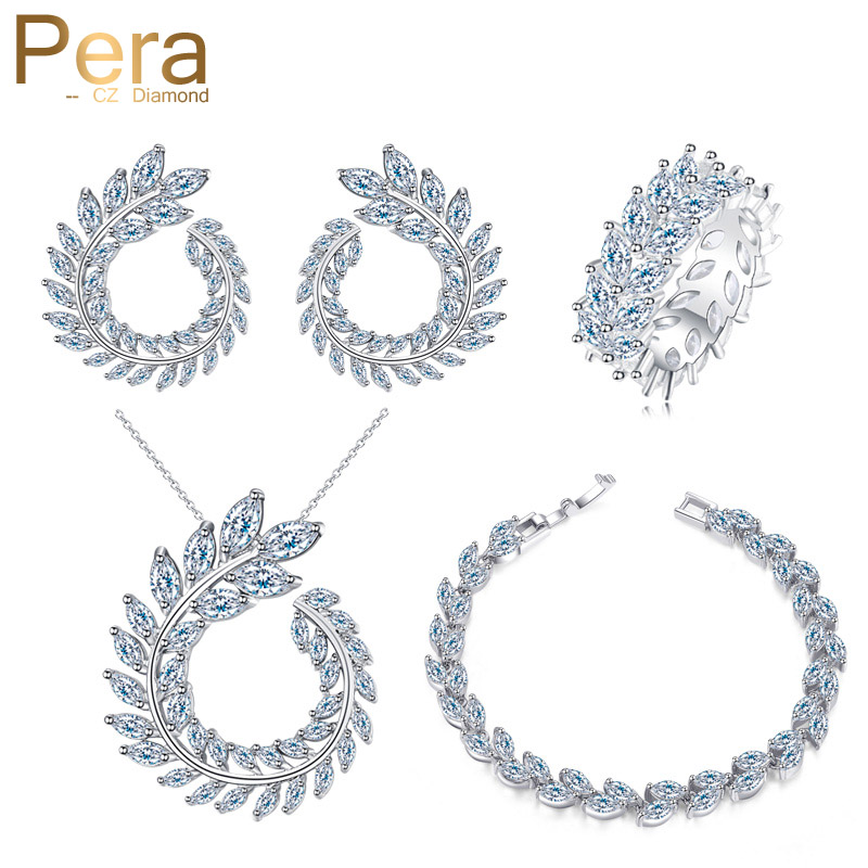 Pera New Fashion 4 Piece Party Jewelry Sets Big Marquise Shape Cubic Zirconia Necklace Earrings Bracelet And Ring For Women J242 a suit of delicate rhinestone necklace bracelet earrings and ring for women