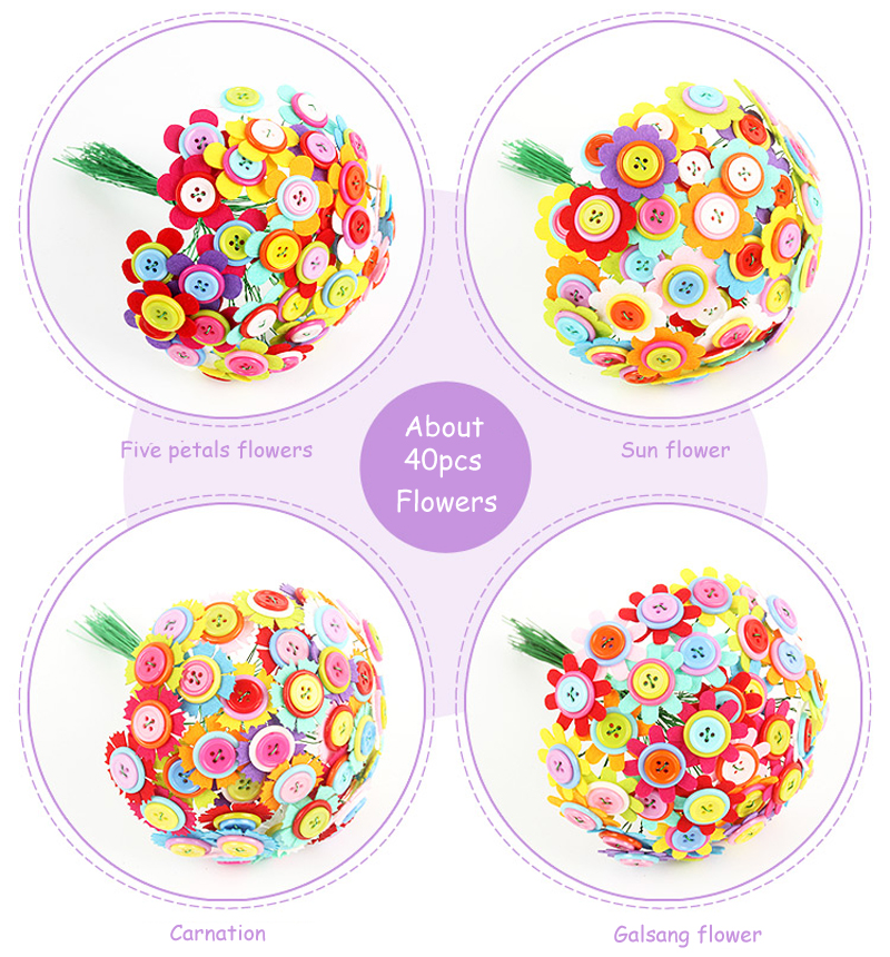 Educational  Button Flower Craft  Carnation Children Gift DIY Felt Toy