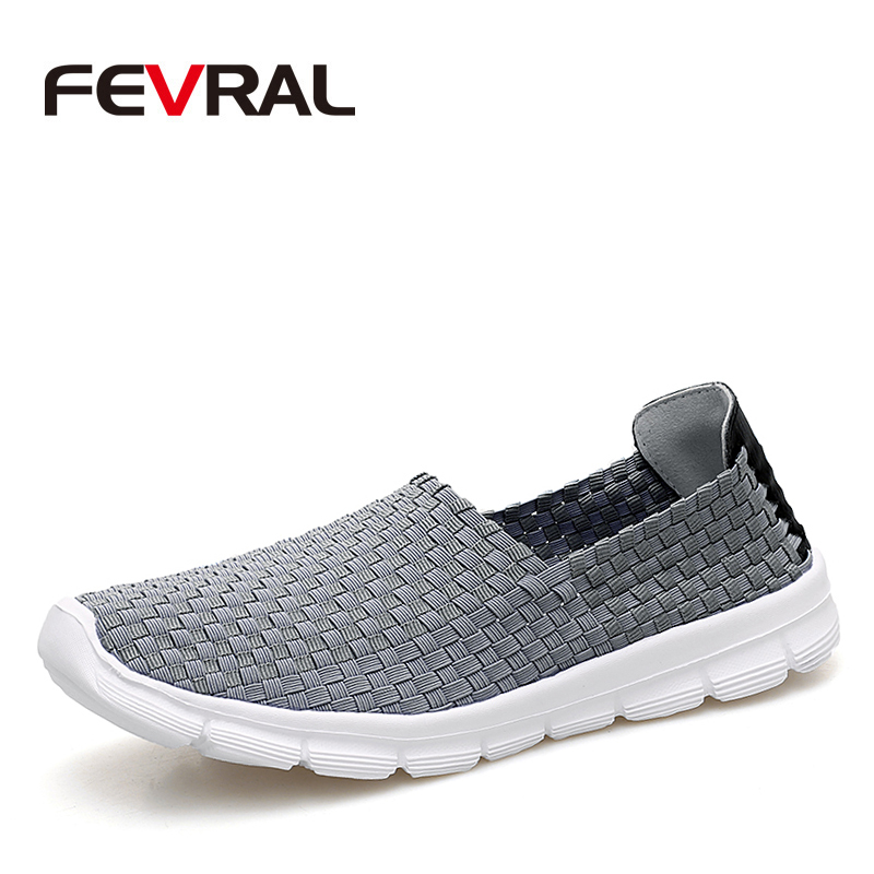 FEVRAL Brand Summer Breathable Men Casual Shoes Slip on Loafers High Quality Handmade Woven Shoes Men Soft and Lightweight FlatsMens Casual Shoes   -