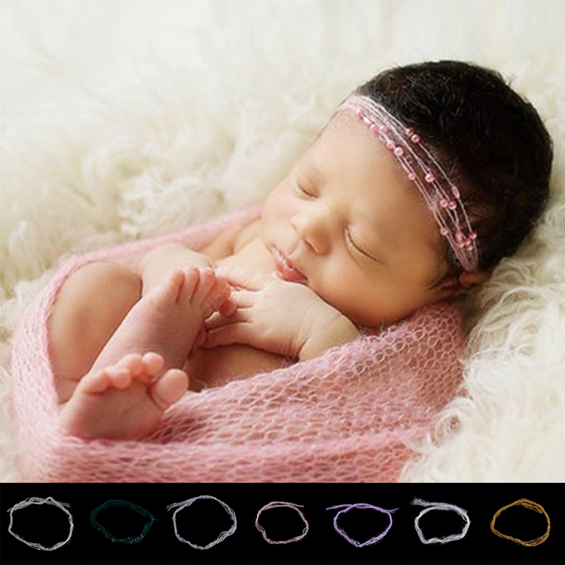 Newborn Baby Mohair Pearl Headband Headwear Hair Accessories Photography Props Baby Shower Gift