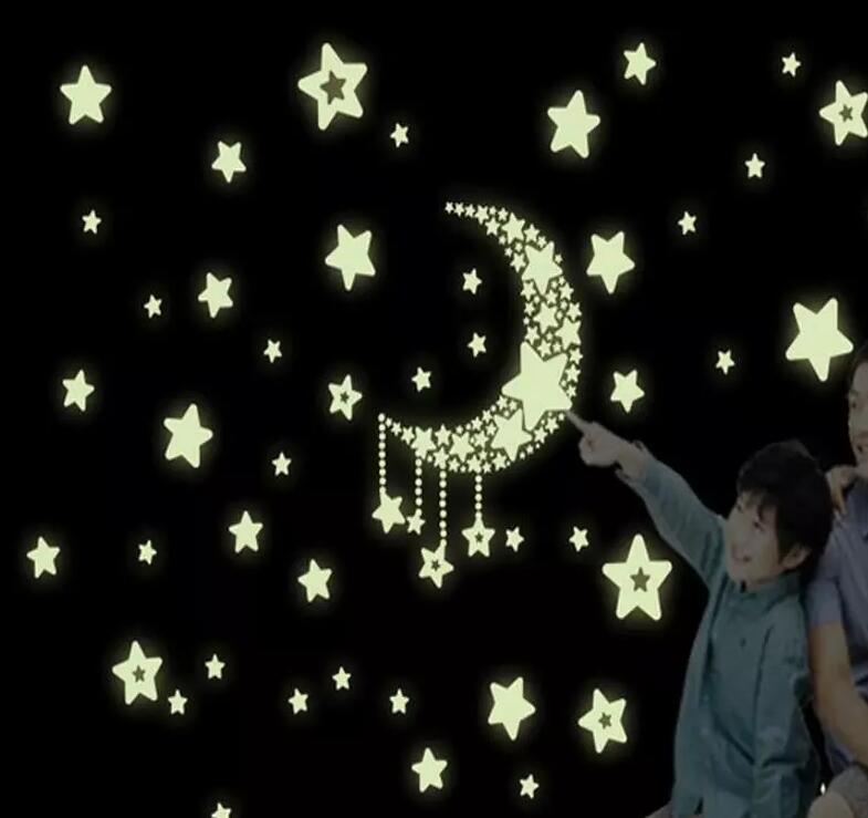 Bunte Glow Wand Aufkleber Leuchtende Sterne Aufkleber Fluorescent Glow In The Dark Baby Kinder Schlafzimmer Aufkleber Sterne Wohnkultur