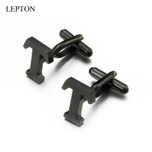 Lepton Stainless steel Letters T Cufflinks for Mens Black & Silver Color Letters T of alphabet Cuff links Men Shirt Cuffs Button igame letters cufflinks silver color fashion english letters design 26 letters copper material free shipping
