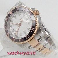 40mm Bliger blanco nuevo dial GMT indicador de fecha de acero bisel de cerámica zafiro vidrio claro lujo movimiento automático relojes para hombres