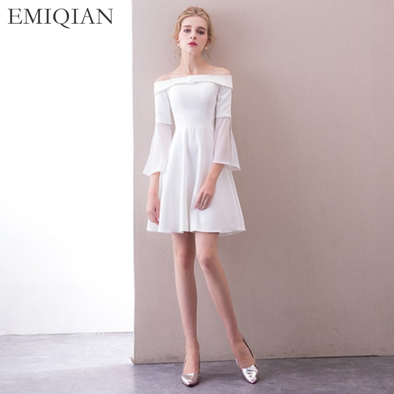 2018 New Arrival Boat Neck White Short Wedding Party Dress
