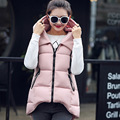 2016 Plus Size Womens Long Vest Sleeveless Jacket Turn Down Collar Cotton Slim Warm Waistcoat Female