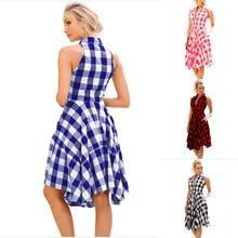Women Summer Dress 2019 Fashion Vintage Sleeveless Plaid Print Irregular Party Elegant Dresses Vestido