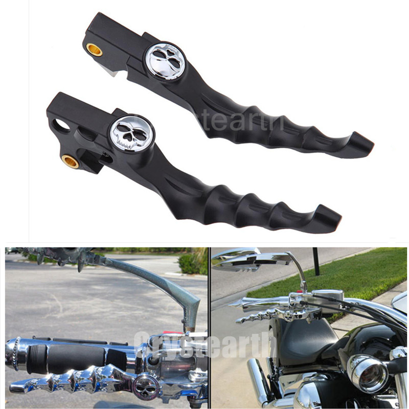Black Motorcycle Skull Skeleton Handlebar Brake Clutch Levers For 04-13 05 06 07 08 09 10 11 12 Harley Sportster 883 1200 XL XR motorcycle cnc skull brake clutch levers fits for harley sportster xr xl 1200 883 fits forty eight 2014 2015 2016 black