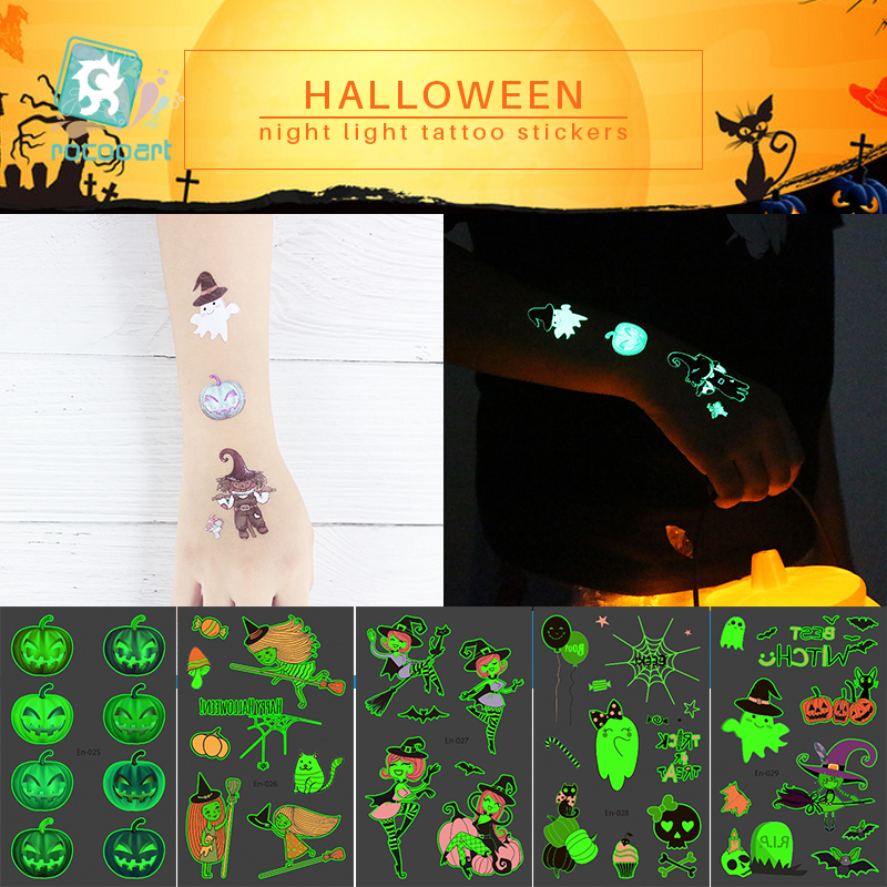 Rocooart Halloween Tattoo For Children Glowing Dark Taty Waterproof Fake Tatoo Luminous Tattoo Stickers Body Art Cartoon Tatto