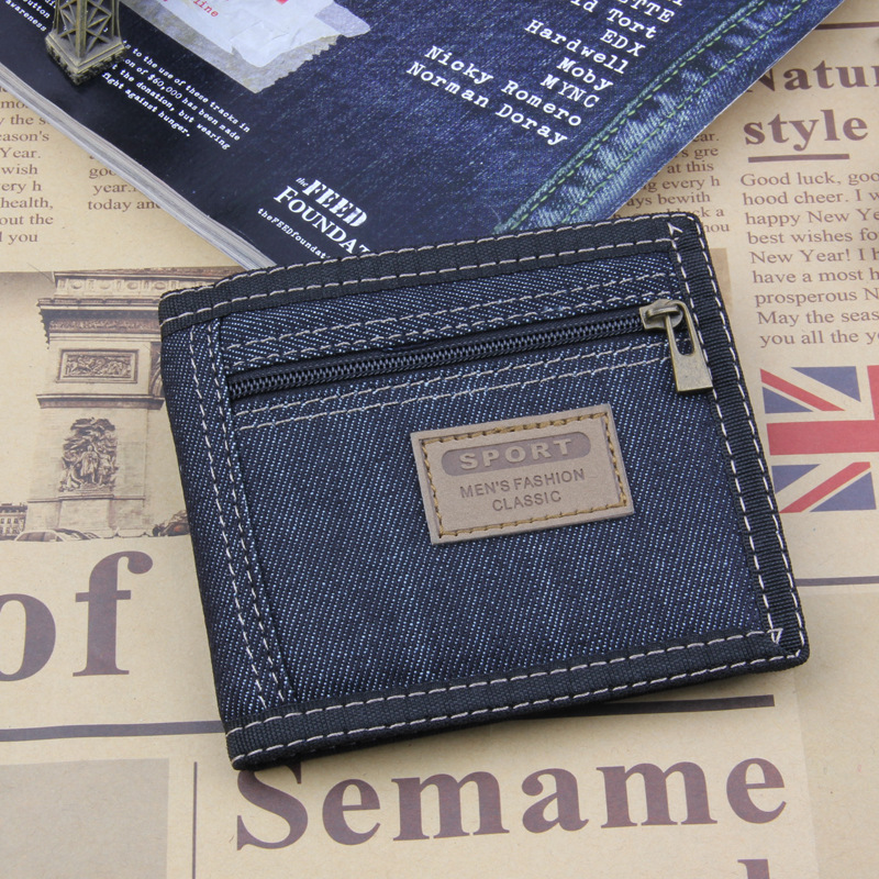 2018 New Vintage Slim Blue Jeans Canvas Wallets Women / Men Quality Man Best Gift for Boyfriend Short Zipper Coin Bag Purses