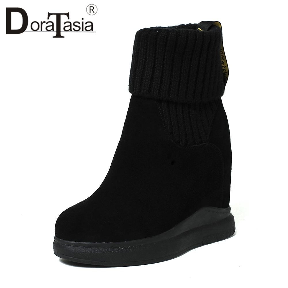 DORATASIA Youthful Ankle Booties Women Natural Cow Suede Autumn Winter Short Plush Platform Shoes Woman Height