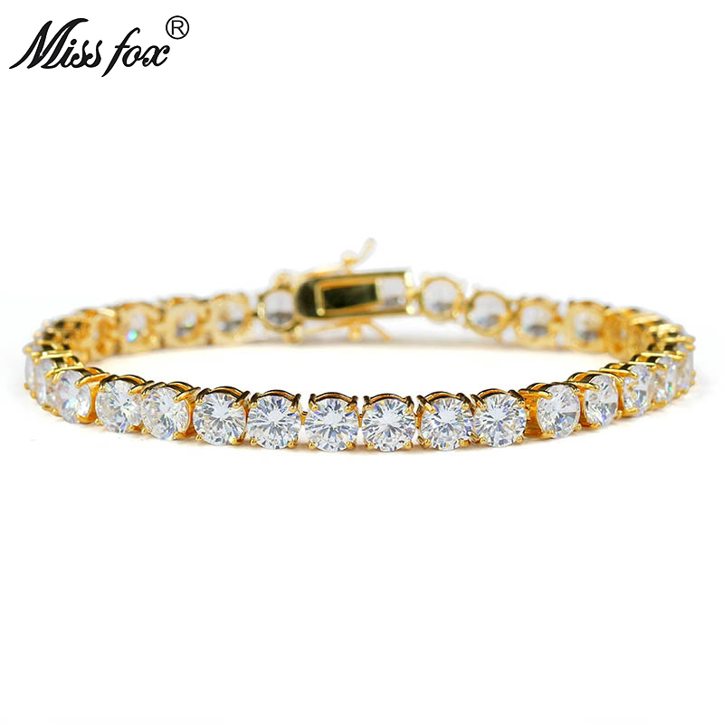 MISSFOX Hiphop Male Tennis Bracelet Tri-Color 6mm Men Luxury Brand Jewelry Big Diamond Copper Material 18K Gold Plated Bracelet bracelet