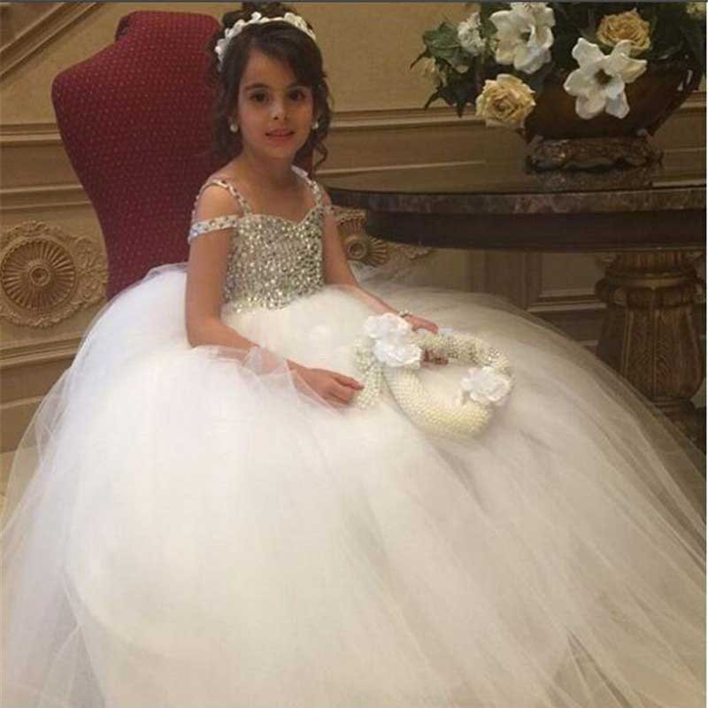 Elegant Ball Gown Flower Girl Dresses Crystal Princess White Ivory First Communion Dress Custom Made 2019 Kids Pageant Gowns
