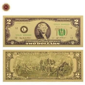 WR americano 24k de oro colorido billete raro nos dinero falso 2 dólares billete de dinero nota Festival regalos de recuerdo valor colección