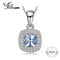 JewelryPalace Cushion Cut 0 8ct Natural Aquamarine Pendant 925 Sterling Silver Pendant Fashion Jewelry For Women