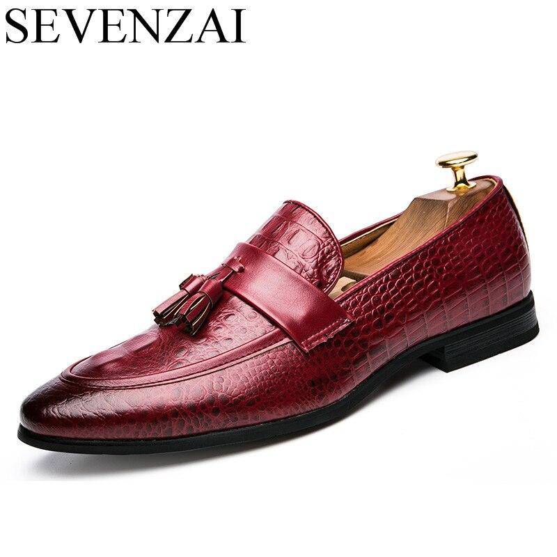 706c842fb89 Kopen Goedkoop Mannen winter italiaanse fashion snake skin brogue lederen  oxford kwastje slip puntschoen schoenen designer mannelijke formele cool  schoeisel ...