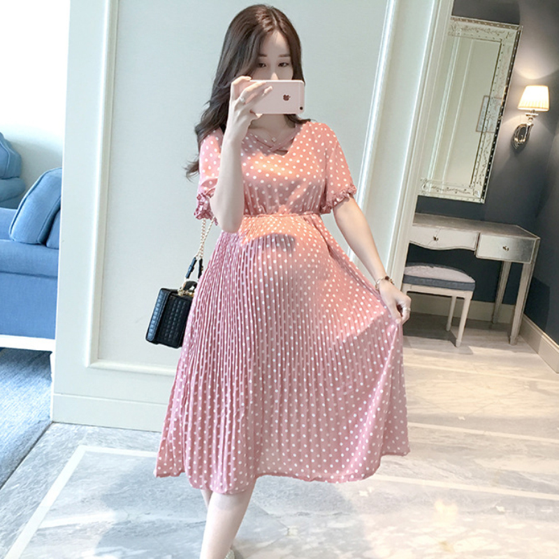 Plus Size Maternity Dresses for Pregnant Women Midi Pleated Chiffon Dress Pink Polka Dots Summer Pregnancy Clothes High Waist plus frill trim pleated dress