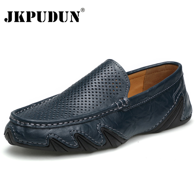 JKPUDUN Genuine Leather Mens Shoes Casual Luxury Brand Men Loafers Hollow Out Summer Breathable Driving Shoes Slip On Moccasins black real leather 2017 mules summer brown european loafers men genuine shoes moccasins half male casual slip ons hot sale