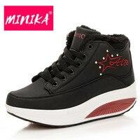 MINIKA Fashion Women Ankle Boots Super Warm Platform Winter Shoes Women Waterproof Pu Upper Comfortable Wedges